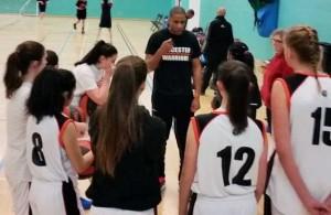 coach reuben walker with u16s leicester warriors girls