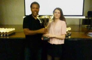 Ellen and KB with a big trophy