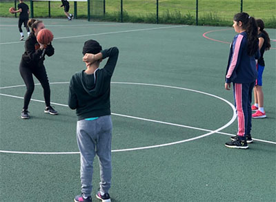 coach charlotte leicester warriors girls training basketball england